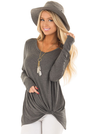 Charcoal Long Sleeve Tee Shirt with Front Twist front close up