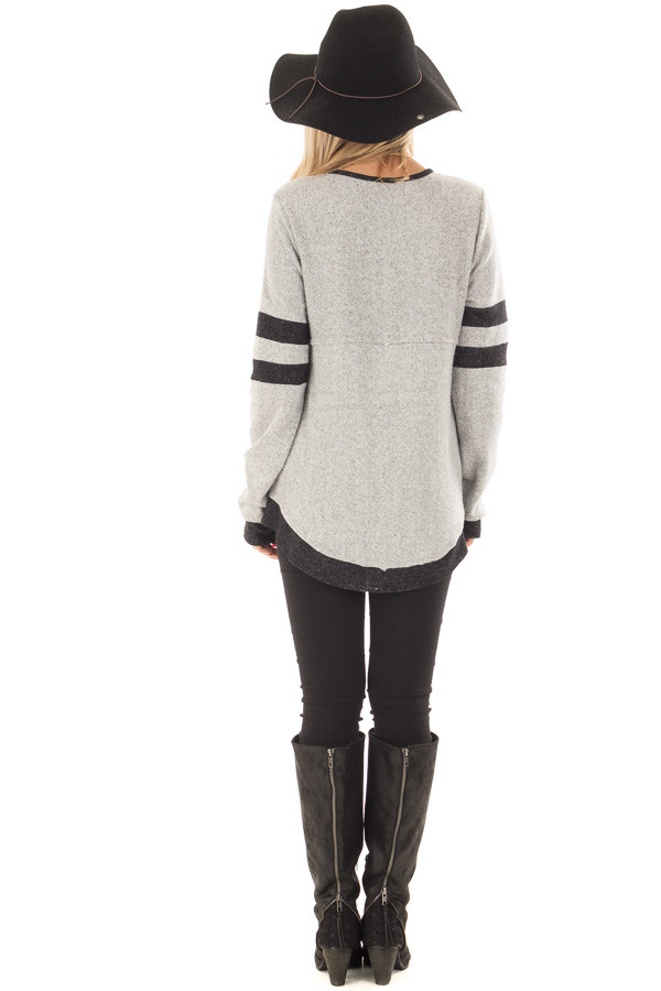 Heather Grey Top with Black Contrast back full body