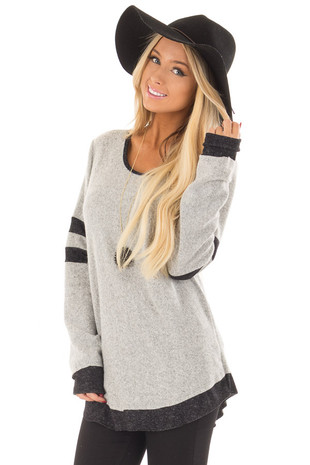 Heather Grey Top with Black Contrast front close up