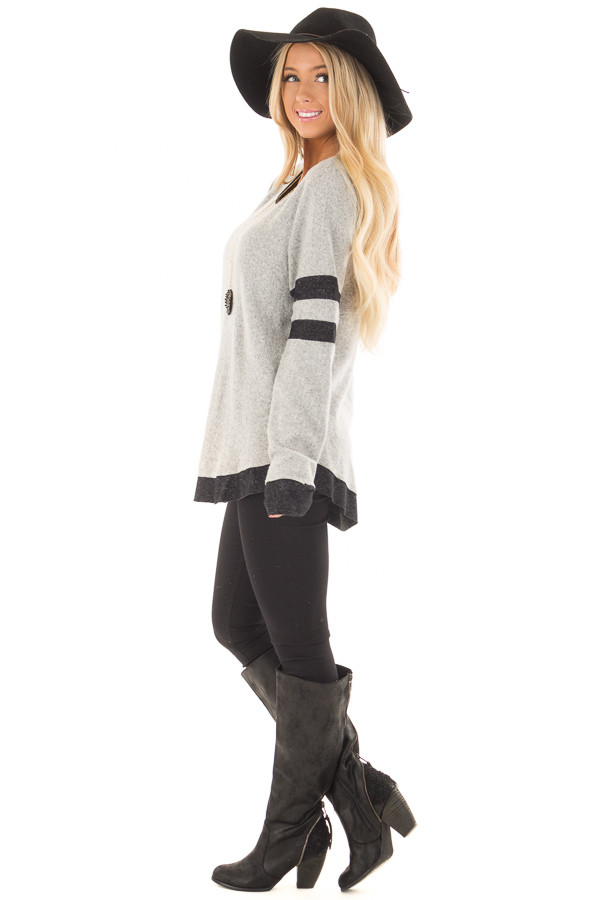 Heather Grey Top with Black Contrast side full body
