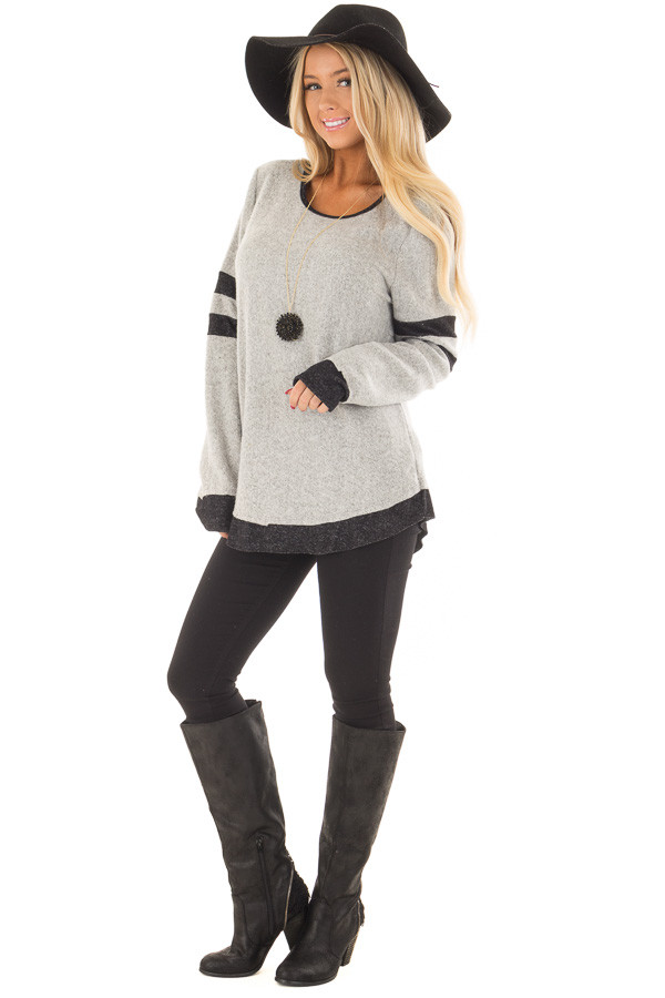 Heather Grey Top with Black Contrast front full body