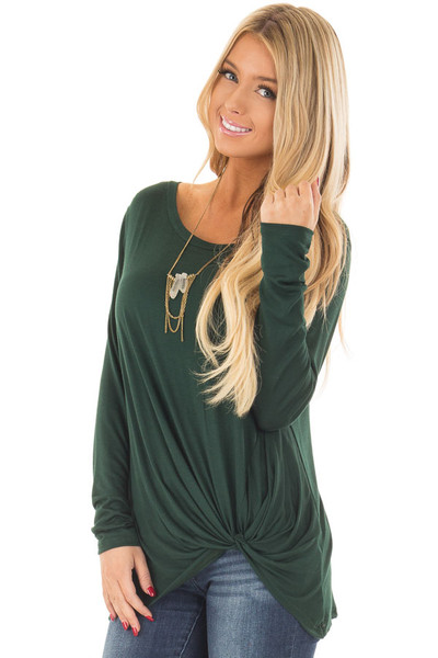 Forest Green Long Sleeve Tee Shirt with Front Twist front closeup