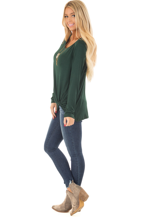 Forest Green Long Sleeve Tee Shirt with Front Twist side full body