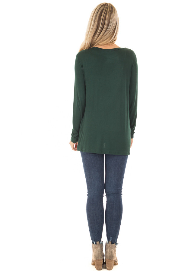 Forest Green Long Sleeve Tee Shirt with Front Twist back full body
