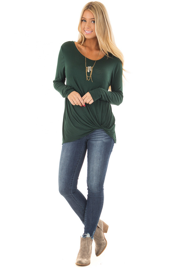 Forest Green Long Sleeve Tee Shirt with Front Twist front full body