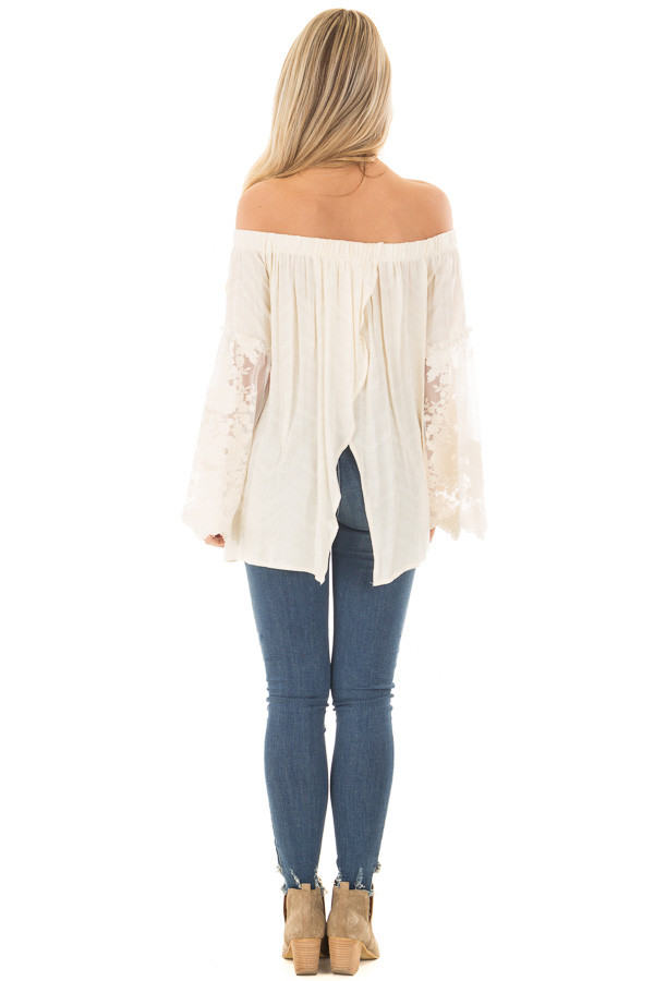 Cream Off the Shoulder Top with Sheer Lace Bell Sleeves back full body
