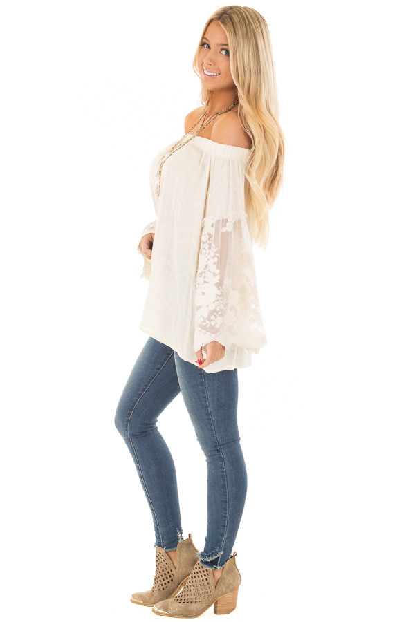 Cream Off the Shoulder Top with Sheer Lace Bell Sleeves side full body