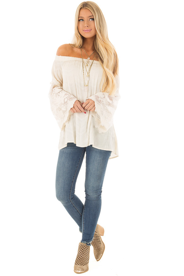 Cream Off the Shoulder Top with Sheer Lace Bell Sleeves front full body