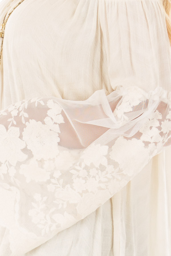 Cream Off the Shoulder Top with Sheer Lace Bell Sleeves detail
