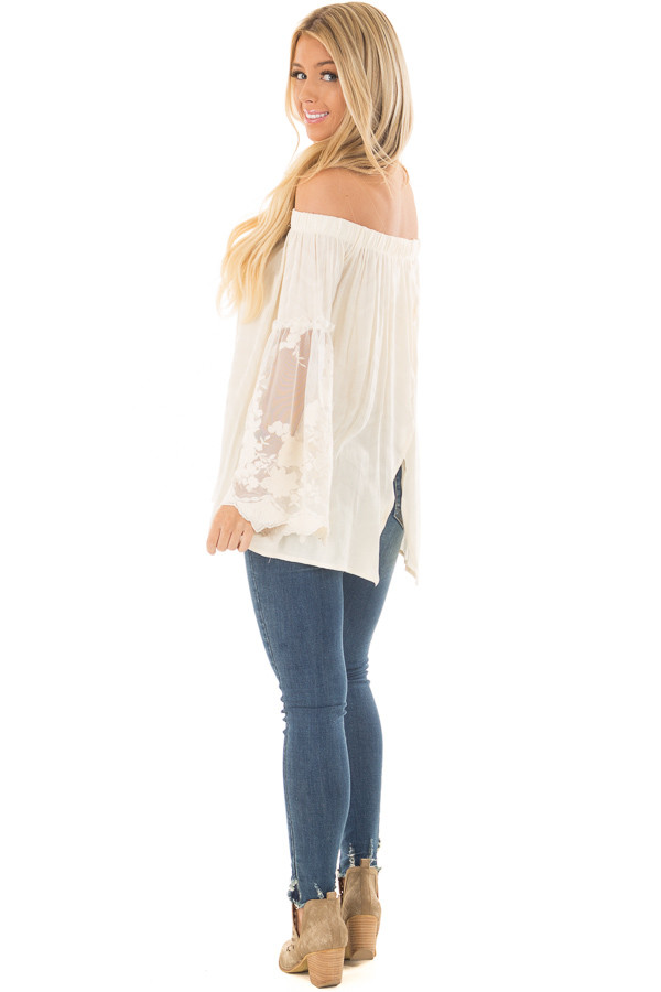 Cream Off the Shoulder Top with Sheer Lace Bell Sleeves back side full body