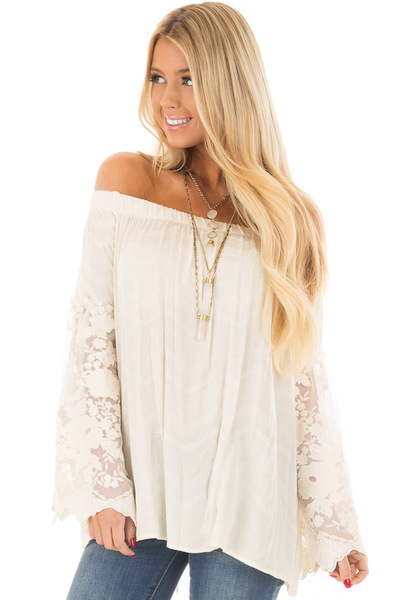 Cream Off the Shoulder Top with Sheer Lace Bell Sleeves front close up