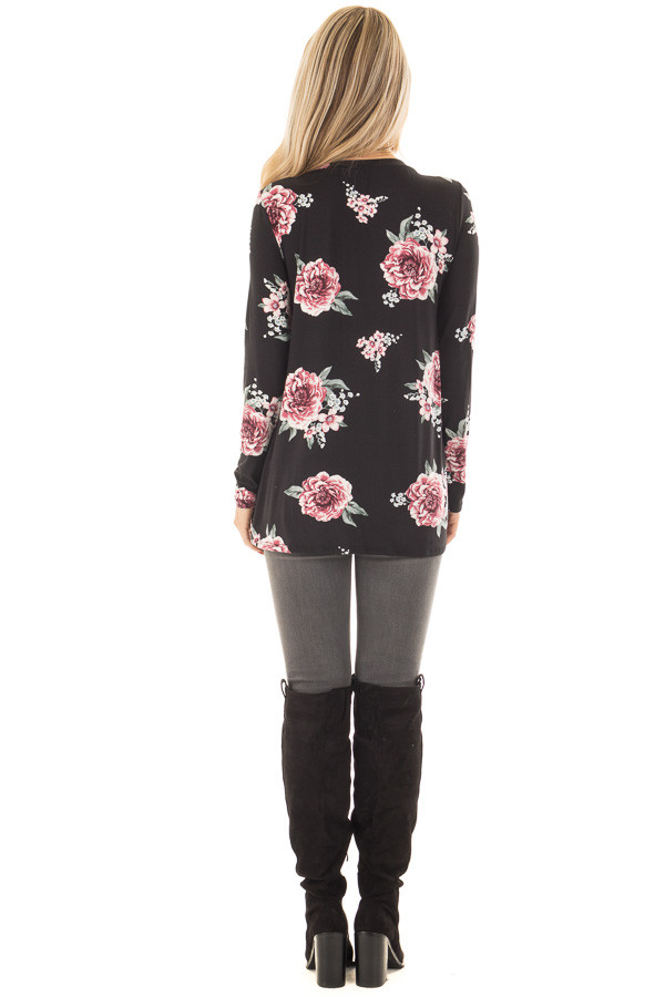 Black Floral Print Super Soft Tee Shirt with Twist Detail back full body