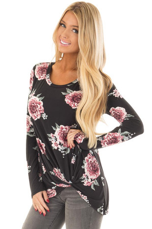 Black Floral Print Super Soft Tee Shirt with Twist Detail front close up