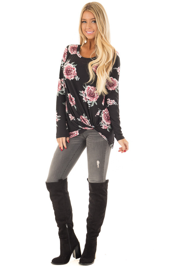 Black Floral Print Super Soft Tee Shirt with Twist Detail front full body