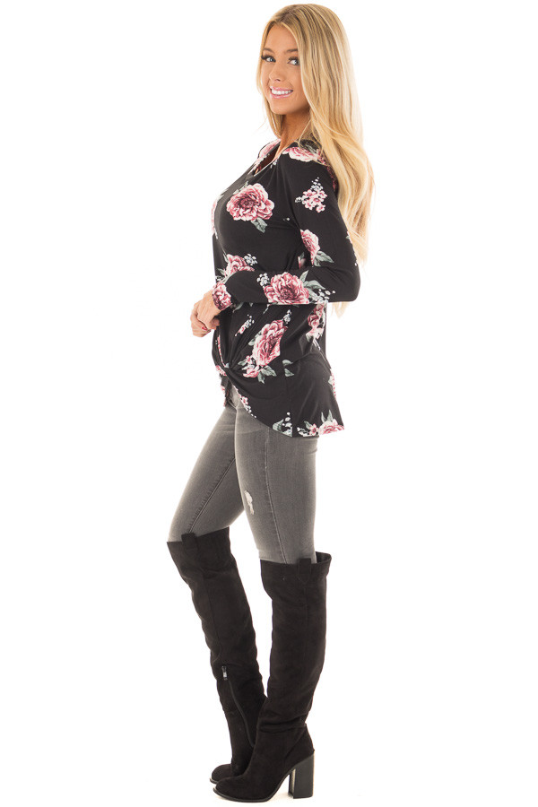 Black Floral Print Super Soft Tee Shirt with Twist Detail side full body