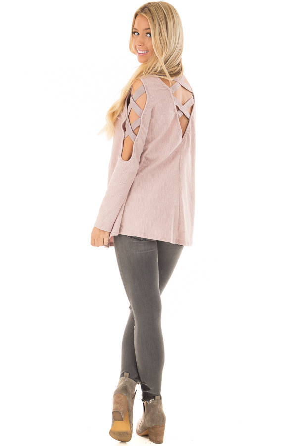 Dusty Pink Cold Shoulder Top with Strap Details back side full body