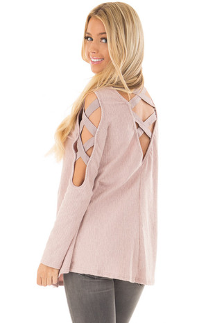 Dusty Pink Cold Shoulder Top with Strap Details back side close up