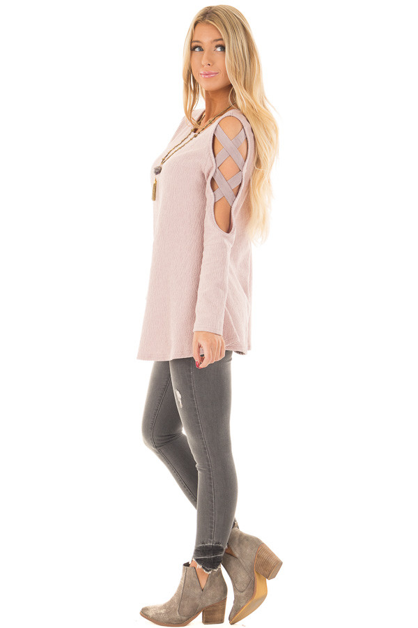 Dusty Pink Cold Shoulder Top with Strap Details side full body
