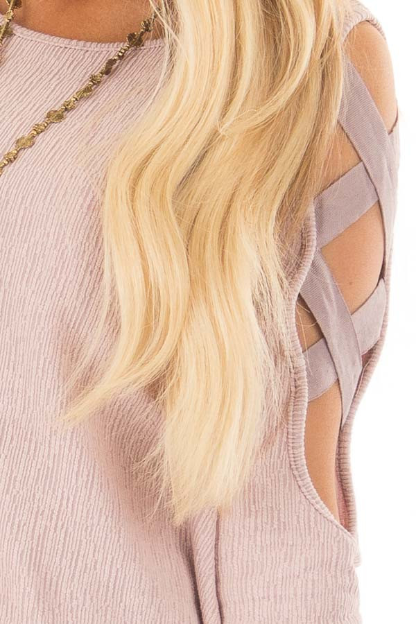 Dusty Pink Cold Shoulder Top with Strap Details detail
