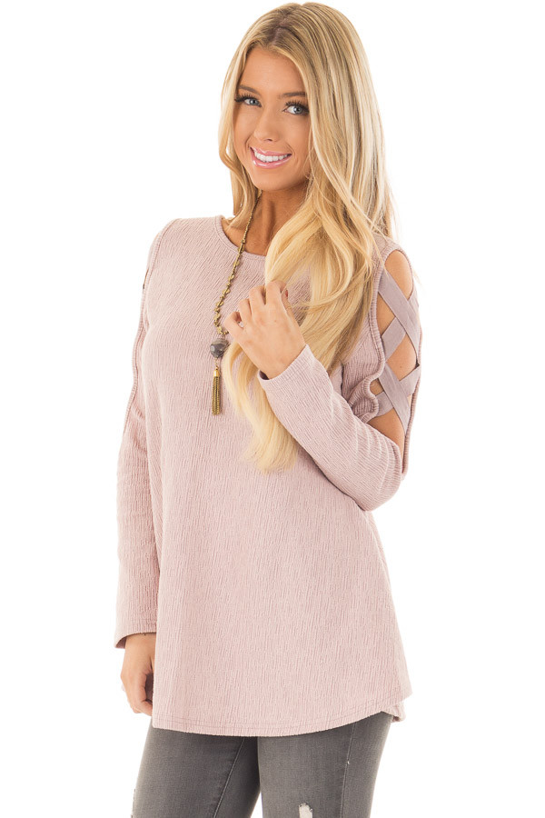 Dusty Pink Cold Shoulder Top with Strap Details front close up