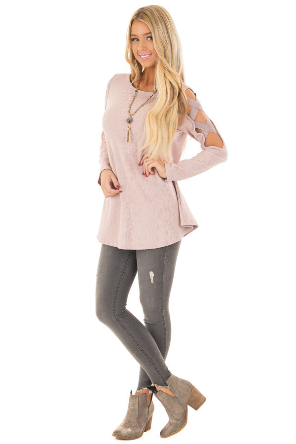 Dusty Pink Cold Shoulder Top with Strap Details front full body