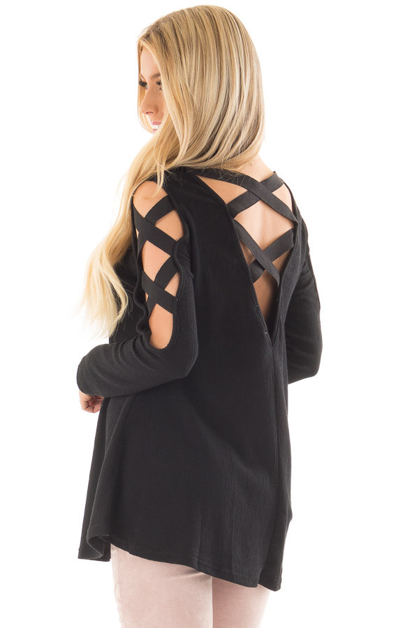 Black Cold Shoulder Top with Strap Details back side close up