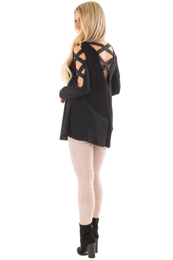 Black Cold Shoulder Top with Strap Details back side full body