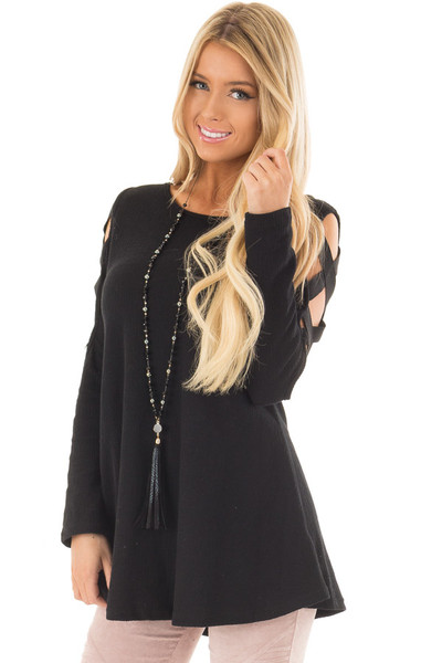 Black Cold Shoulder Top with Strap Details front close up