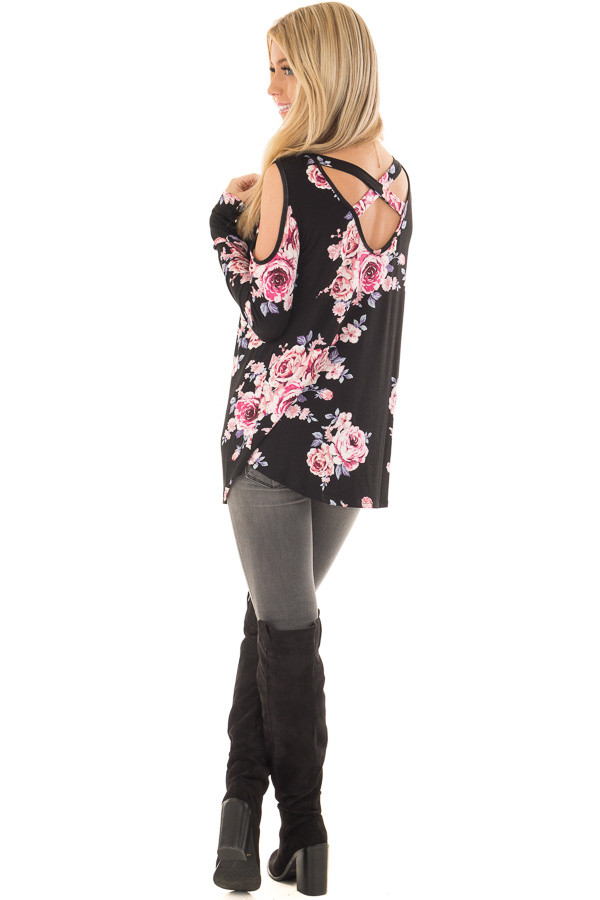 Black Floral Print Cold Shoulder Top with X Band Back back side full body