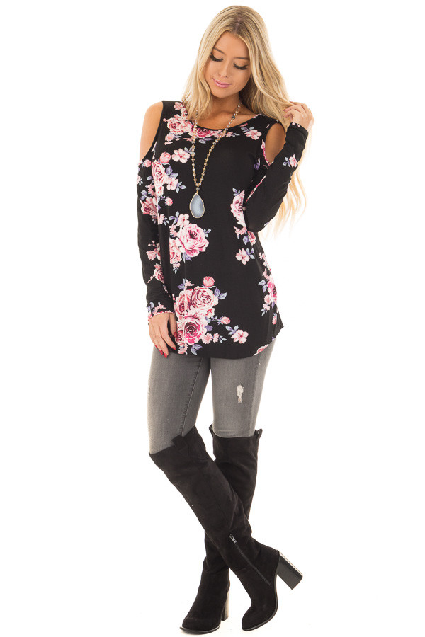 Black Floral Print Cold Shoulder Top with X Band Back front full body