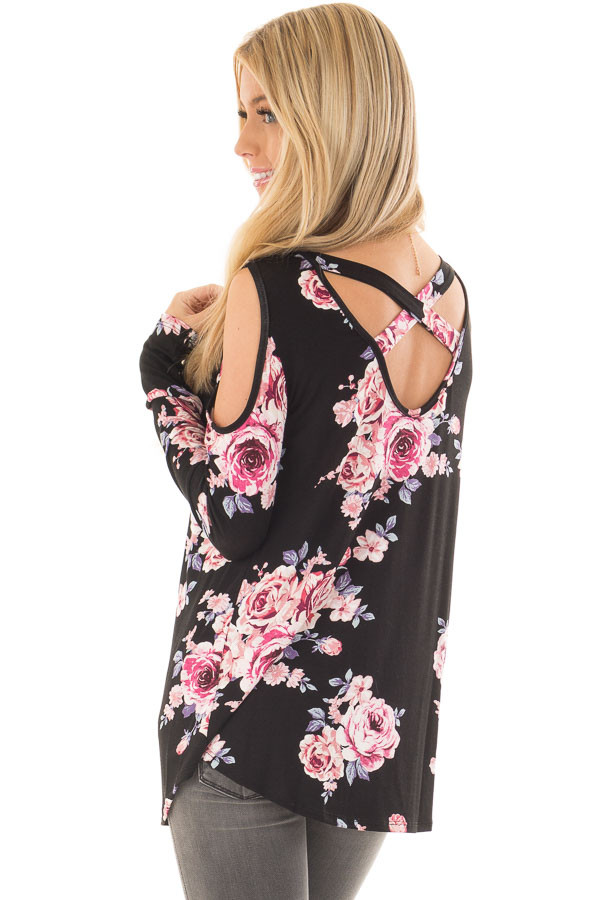 Black Floral Print Cold Shoulder Top with X Band Back back side close up