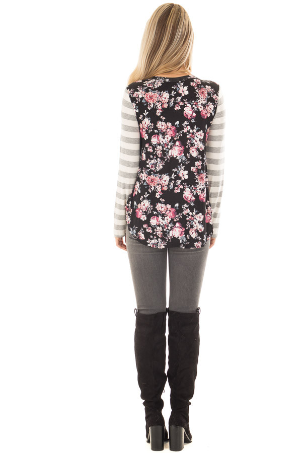 Black Floral Print Tee Shirt with Striped Sleeves back full body