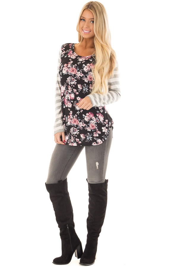 Black Floral Print Tee Shirt with Striped Sleeves front full body