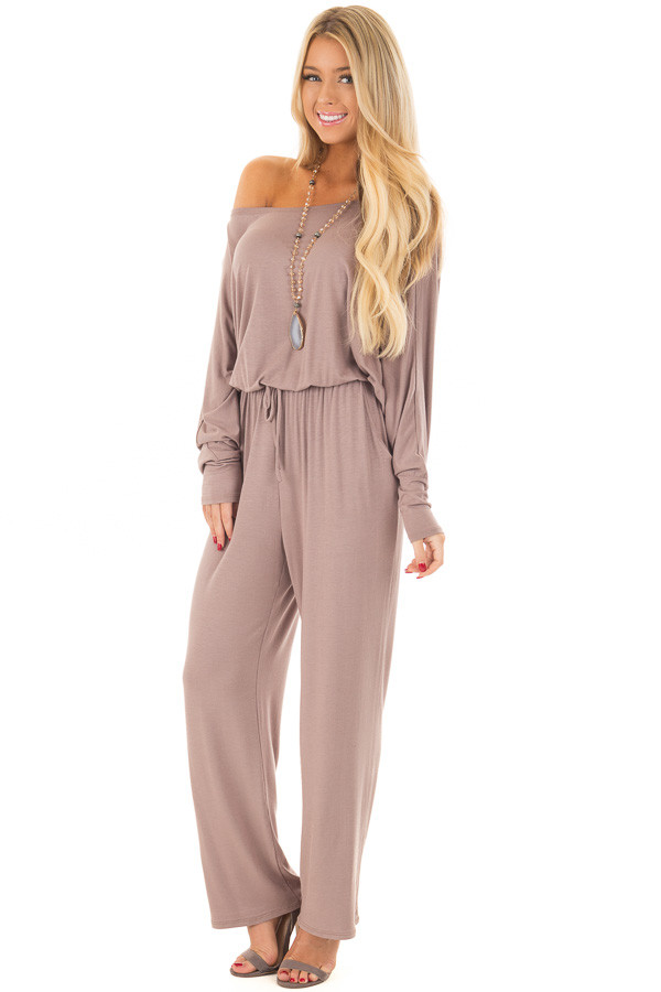 Mocha Off the Shoulder Jumpsuit with Waist Tie front full body