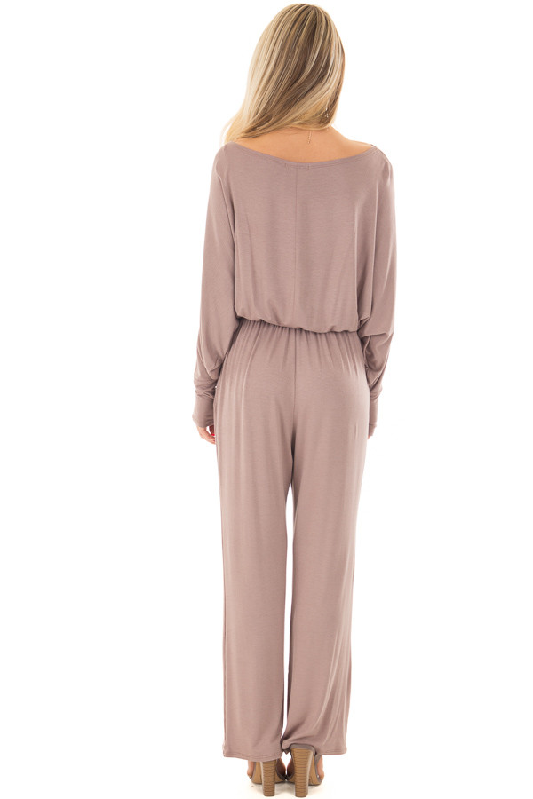 Mocha Off the Shoulder Jumpsuit with Waist Tie back full body