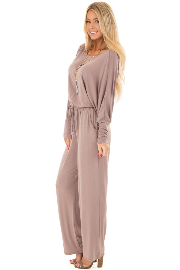 Mocha Off the Shoulder Jumpsuit with Waist Tie side full body