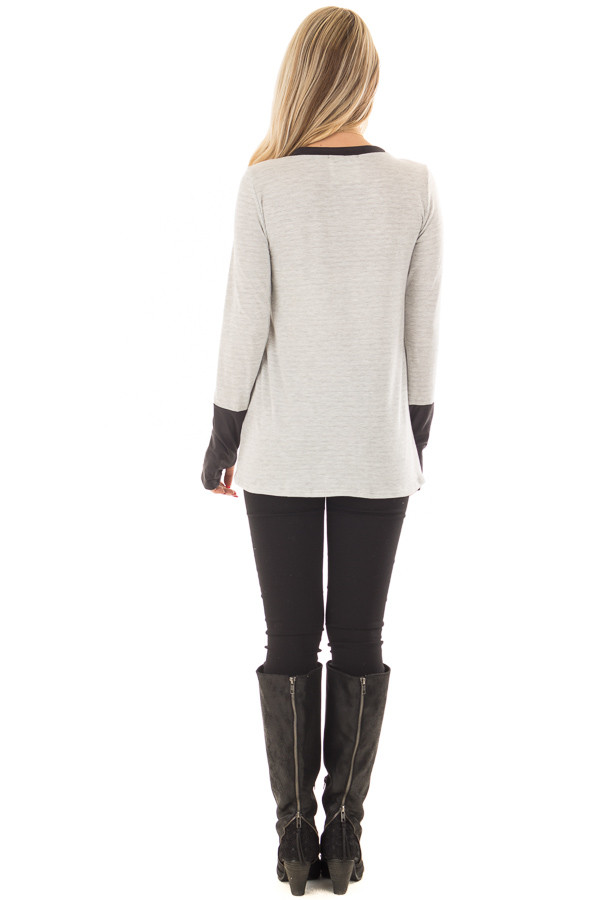 Heather Grey Top with Black Faux Suede Contrast back full body