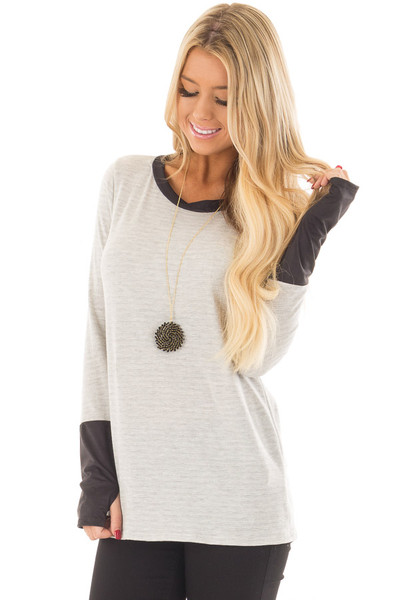 Heather Grey Top with Black Faux Suede Contrast front close up