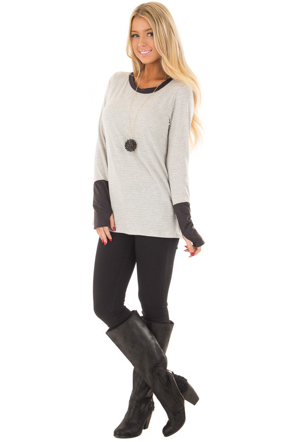 Heather Grey Top with Black Faux Suede Contrast front full body