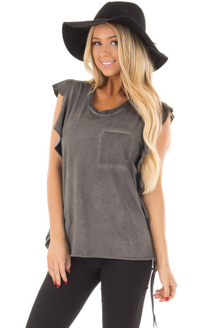 Charcoal Mineral Wash Ruffle Tee Shirt front close up