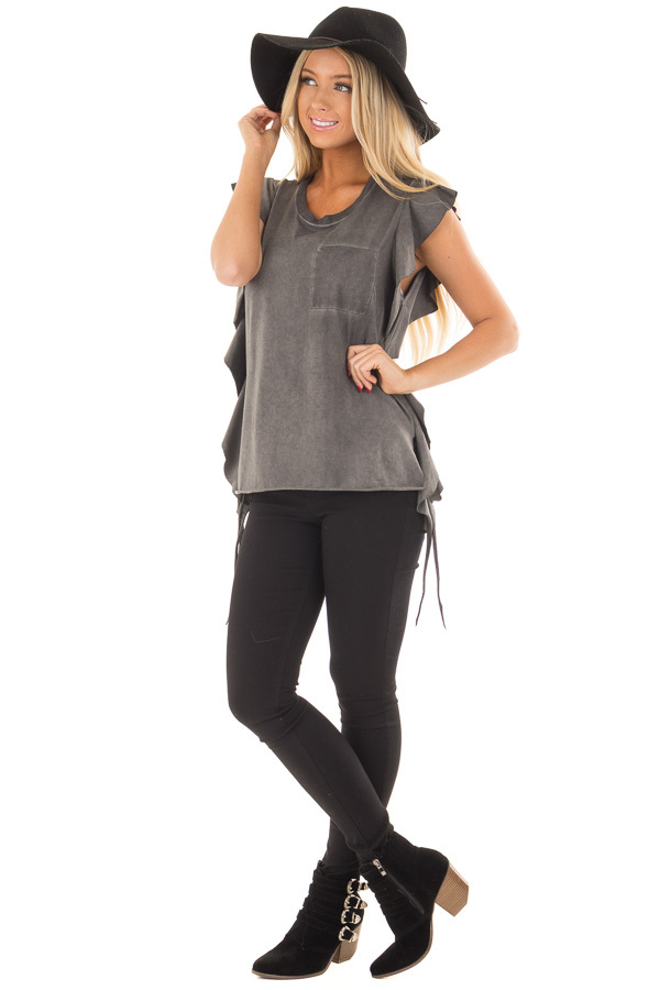 Charcoal Mineral Wash Ruffle Tee Shirt front full body