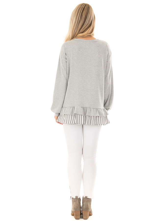 Heather Grey Ruffle Top with Stripe Contrast back full body