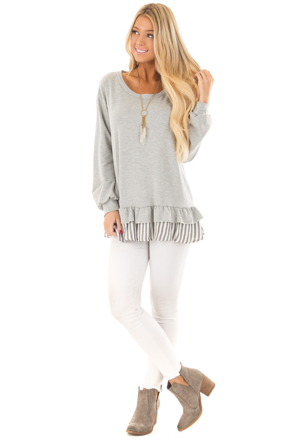 Heather Grey Ruffle Top with Stripe Contrast front full body