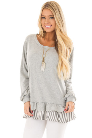 Heather Grey Ruffle Top with Stripe Contrast front close up