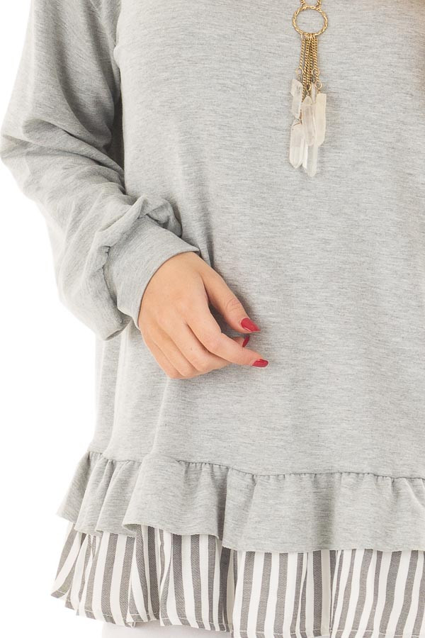 Heather Grey Ruffle Top with Stripe Contrast detail