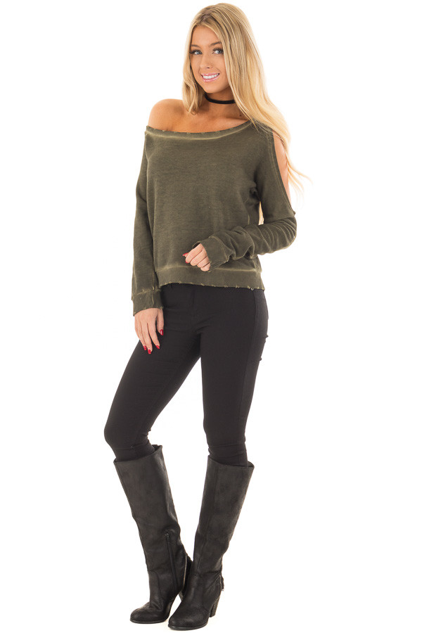 Olive Mineral Wash Bare Shoulders Long Sleeve Top front full body