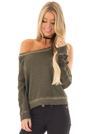 Olive Mineral Wash Bare Shoulders Long Sleeve Top front close up