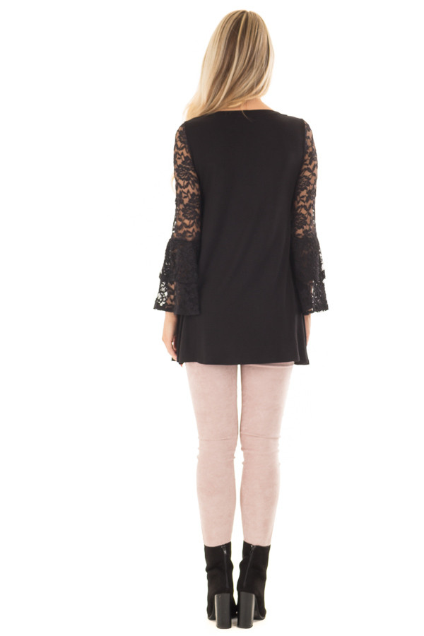 Black Top with Long Sheer Lace Bell Sleeves back full body