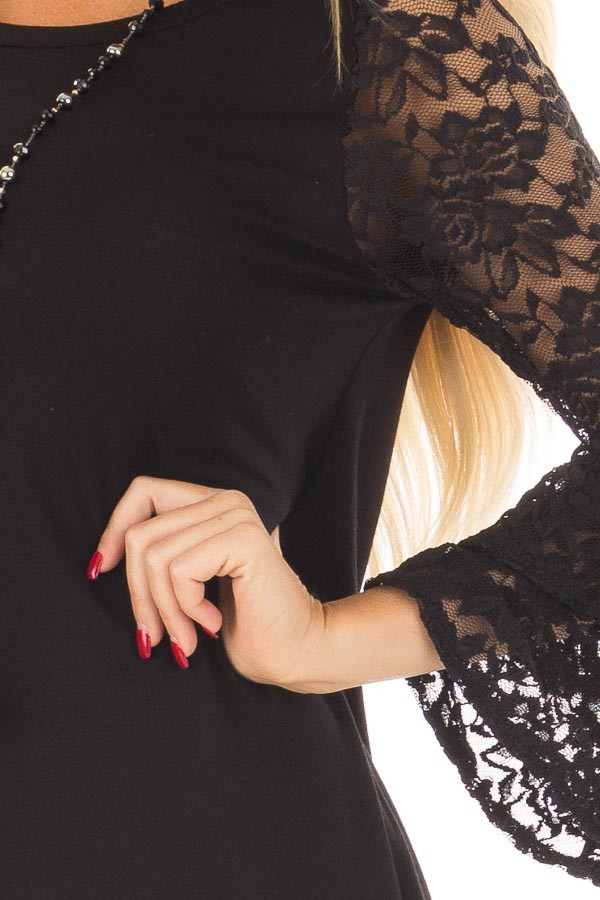 Black Top with Long Sheer Lace Bell Sleeves detail