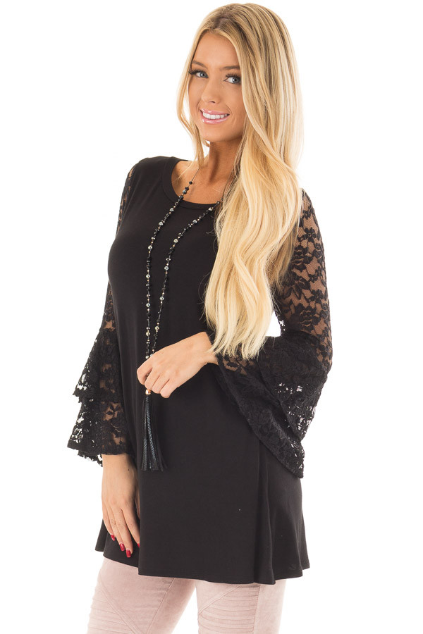Black Top with Long Sheer Lace Bell Sleeves front close up